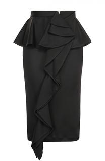 Юбка-карандаш с баской и оборкой Givenchy