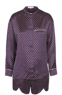 Шелковая пижама с мини-шортами Olivia Von Halle