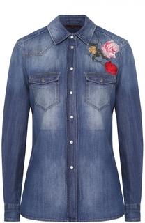 Приталенная джинсовая блуза с цветочной вышивкой 7 For All Mankind