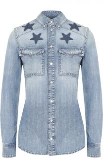 Приталенная джинсовая блуза с контрастной отделкой в виде звезд Givenchy