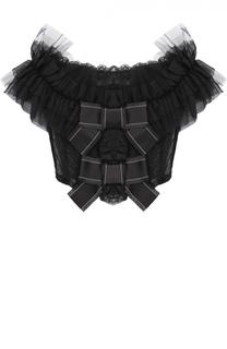 Кружевной топ с открытыми плечами и оборками Dolce & Gabbana