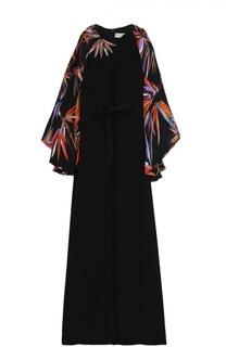 Шелковое платье-макси с вышивкой и рукавами с цветочным принтом Emilio Pucci