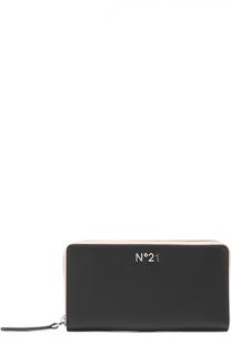 Кожаное портмоне с принтом на молнии No. 21