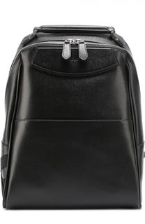 Кожаный рюкзак с внешним карманом и текстильной отделкой Canali