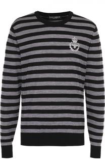 Джемпер из шерсти тонкой вязки в контрастную полоску Dolce & Gabbana