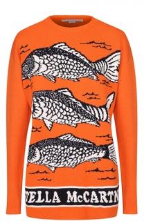 Пуловер прямого кроя с круглым вырезом и принтом Stella McCartney