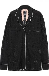 Кружевная блуза в пижамном стиле с контрастной отделкой No. 21