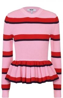 Пуловер в контрастную полоску с баской MSGM