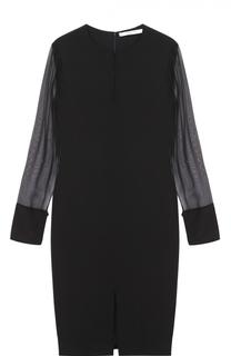Платье прямого кроя с вырезом-капелька и прозрачными рукавами Givenchy