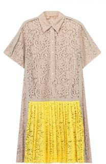 Кружевное платье-рубашка с плиссированной юбкой No. 21
