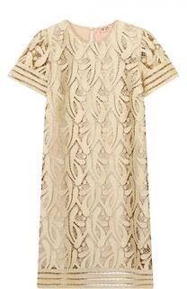 Кружевное мини-платье прямого кроя с коротким рукавом No. 21