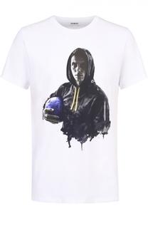 Хлопковая футболка с камуфляжным принтом Dirk Bikkembergs