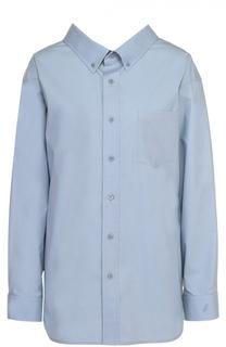 Хлопковая блуза свободного кроя с накладным карманом Balenciaga