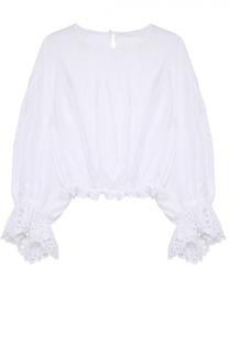 Укороченная блуза свободного кроя с кружевной отделкой Chloé