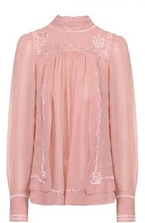 Шелковая блуза с воротником-стойкой и контрастной отделкой Isabel Marant