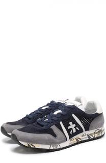 Замшевые кроссовки с перфорацией на подошве с принтом Premiata