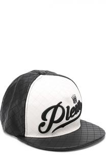 Стеганая бейсболка с вышивкой и контрастной отделкой Philipp Plein