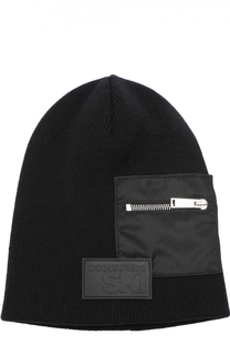 Шерстяная шапка бини с декоративным карманом на молнии Dsquared2