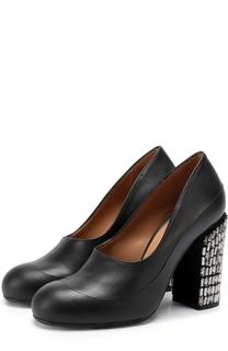 Кожаные туфли на каблуке с кристаллами Marni