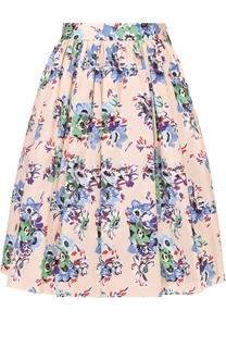 Мини-юбка с цветочным принтом и широким поясом MSGM