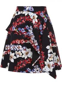 Мини-юбка с цветочным принтом и оборками MSGM