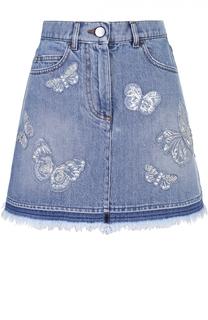 Джинсовая мини-юбка с отделкой в виде бабочек и бахромой Valentino