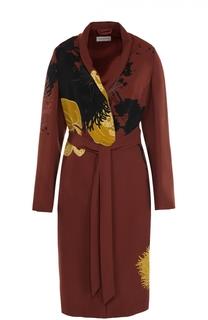 Пальто прямого кроя с поясом и принтом Dries Van Noten
