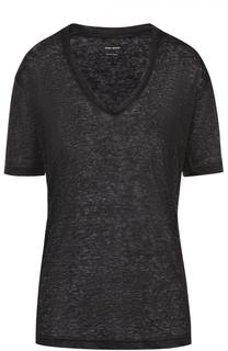 Льняная футболка прямого кроя с V-образным вырезом Isabel Marant