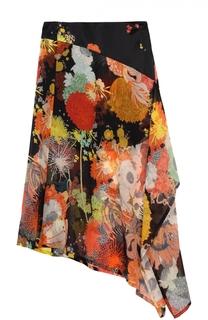 Шелковая юбка асимметричного кроя с цветочным принтом Dries Van Noten