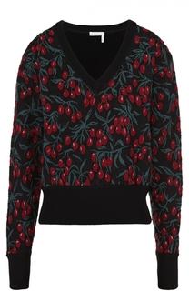 Укороченный пуловер с V-образным вырезом и принтом Chloé