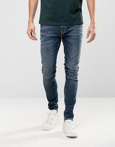 Nudie Pipe Led Super Skinny Jeans Iron Blue - Синий