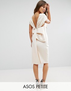 Платье миди с бантом сзади ASOS PETITE Premium - Бежевый