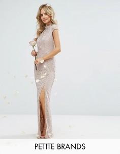 Кружевное платье с высокой горловиной и короткими рукавами TFNC Petite Wedding - Розовый