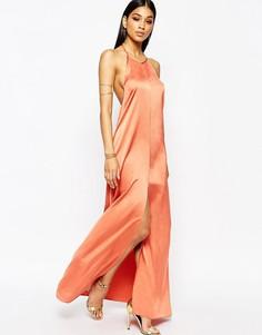 Шелковистое платье макси с разрезом спереди Missguided - Оранжевый