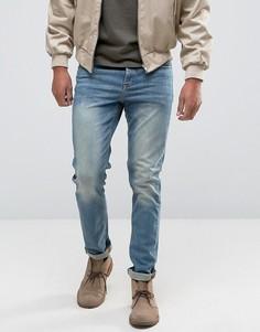 Светло-синие стретчевые джинсы слим из денима плотностью 12,05 унций ASOS - Синий