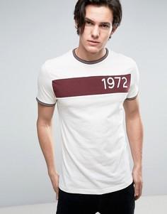 Меланжевая футболка с принтом в стиле ретро Brave Soul - Красный