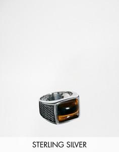 Серебряное кольцо с камнем тигровый глаз Seven London - Серебряный