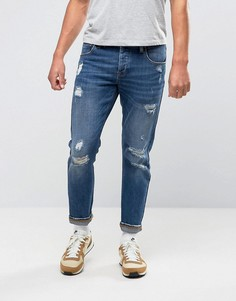Рваные эластичные джинсы слим ASOS - Синий