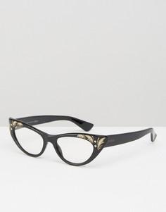 Очки с прозрачными стеклами и рисунком Gucci - Черный