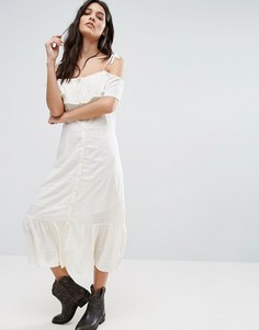 Платье миди на пуговицах с открытыми плечами Vero Moda Jade - Белый