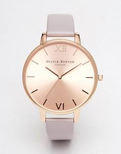 Часы с крупным циферблатом и кожаным ремешком Olivia Burton - Серый