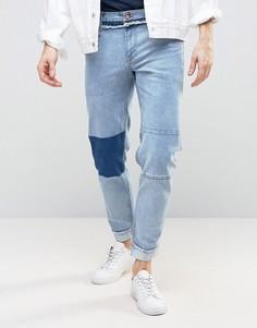 Винтажные укороченные джинсы стретч узкого кроя ASOS - Синий