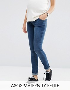 Зауженные джинсы для беременных с поясом над животом ASOS Maternity PETITE - Синий