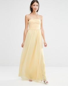 Платье макси для подружки невесты с вырезом бандо Vila - Желтый