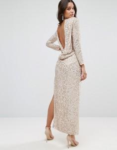 Платье миди с отделкой пайетками и свободным воротом сзади ASOS - Серебряный