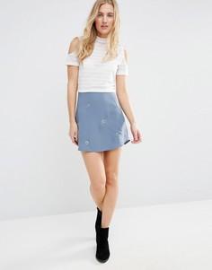 Трапециевидная юбка с люверсами First & I - Мульти
