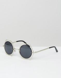 Круглые солнцезащитные очки в шестиугольной металлической оправе Jeepers Peepers - Черный