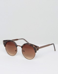 Солнцезащитные очки с леопардовым принтом AJ Morgan - Коричневый