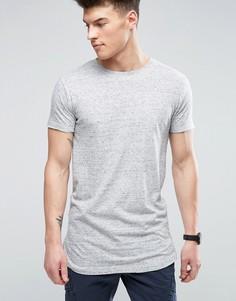 Фактурная меланжевая футболка удлиненного кроя D-Struct - Серый