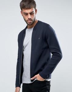 Темно-синяя трикотажная куртка-пилот узкого кроя Farah Uasher - Темно-синий